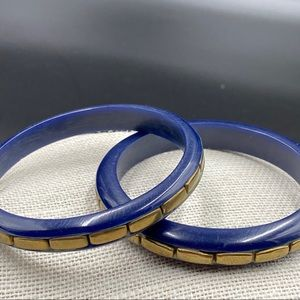 Two Vintage Navy Bangles with Inlaid Brass